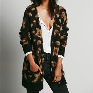Free People XS Black Leopard Cardigan